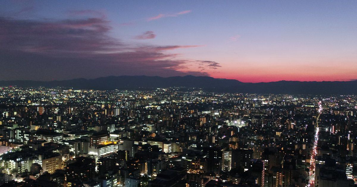 ドローンで京都市の夜景